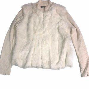 Ruby Cho Womens Rabbit Fur Jacket Zip Up Size XL